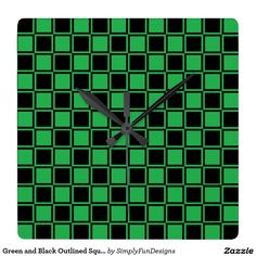 Green and Black Outlined Squares Square Wall Clock
