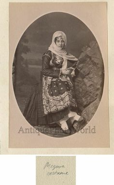 Greece girl in ethnic Megara costume antique art photo - Christmas Deesserts Antique Signs, Antique Art, Antique Photos, Old Photos, Vintage Photos, Greece Girl, Greek Traditional Dress, The Uncanny, Photographs Of People