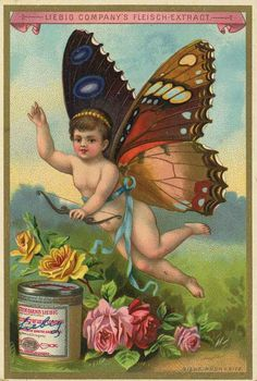 Vintage Ad- Liebig Fleisch Extract, butterfly baby by briana Vintage Labels, Vintage Ephemera, Vintage Cards, Vintage Postcards, Images Vintage, Photo Vintage, Retro, Vintage Fairies, Butterfly Baby