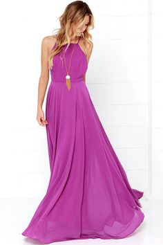 The Mythical Kind of Love Purple Maxi Dress is simply irresistible in every single way! Lightweight Georgette forms a fitted bodice with princess seams and an apron neckline supported by adjustable spaghetti straps that crisscross atop a sultry open back. A billowing maxi skirt cascades from an elasticized waistline into an elegant finale, perfect for any special occasion! Hidden back zipper with clasp.