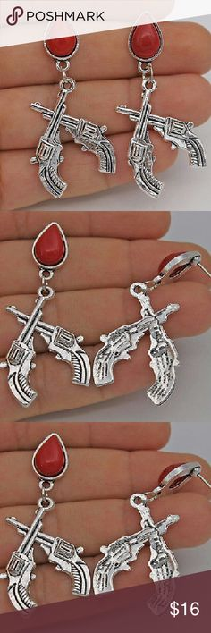 1.9 double gun red resin turquoise earrings Armed and dangerous!! Jewelry Earrings