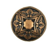 Damascus Embossed Flower Copper Metal Shank Buttons - 15mm - 5/8 inch