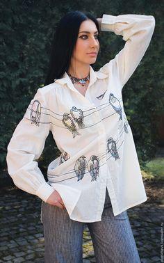 """Купить Уникальная блуза """"Птицы на проводах"""" блуза с вышивкой и росписью - рисунок, блуза с птицами"""