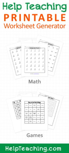 *****great site for worksheets*****Free Printable Math Worksheet (Addition, Subtraction, Multiplication) and Game (Bingo Cards, Word Search) Generators Math Tutor, Teaching Math, Teaching Geography, Teaching Ideas, Math For Kids, Fun Math, Lego Math, Free Printable Math Worksheets, School Worksheets