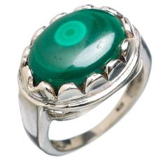 Malachite 925 Sterling Silver Ring Size 7.25 RING763473