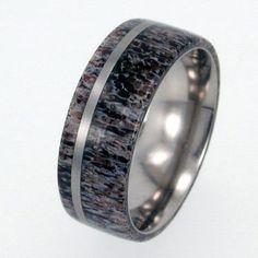 Deer Antler Titanium Ring with Pinstripe  by jewelrybyjohan, $249.00