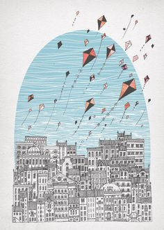 Our AncestorsSolo Exhibition in Red Door Gallery, Edinburgh Red Kite, Line Drawing, Screen Printing, Backdrops, Kites, Sketching, Silk Screen Printing, Kite, Backgrounds