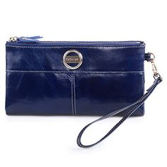 BIG SALE-Yafeige Women Large Capacity Bi-fold Leather Clutch Wallet Purse with Phone Pocket(Navy blue) >>> Find out @