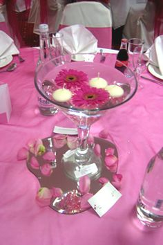 Martini vase with flowers and candles!