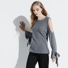 k/lab Bell Sleeve Cold-Shoulder Top, Girl's, Size: Small, Grey