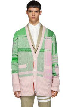 Thom Browne Oversized Plaid Cardigan In Green V Neck Cardigan, Oversized Cardigan, Knitwear Fashion, Thom Browne, Tartan Plaid, Rib Knit, Men Fashion, Fashion Design, Street Wear
