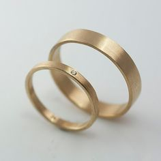 Recycled Hand Forged 14k Yellow Gold Ring Band Set Satin Finish Eco Friendly Metal Diamond