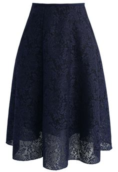 Blooming Romance Airy A-line Skirt in Navy - New Arrivals - Retro, Indie and Unique Fashion