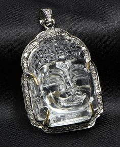Buddha design Pendant with carved Crystal and Oxidized Pave Diamonds