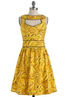 Boldest of the Bunch Dress - Yellow, Black, Novelty Print, Cutout, Party, A-line, Sleeveless, Summer, Casual, Mid-length, Fruits