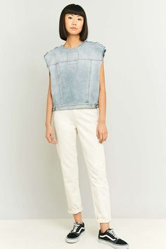 MM6 рукавов Изношенные серый деним Top - Urban Outfitters