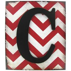 Red & White Chevron Plaque with Black Letter - C | Shop Hobby Lobby