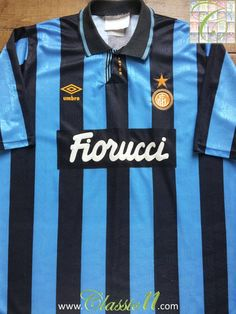 Relive Internazionale s 1992 1993 season with this vintage Umbro home football  shirt. Soccer Kits adaa749c9