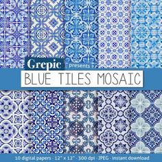 Digital paper mosaic: BLUE TILES MOSAIC with blue lisbon by Grepic
