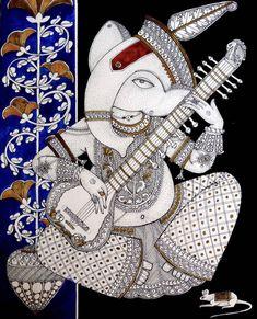 Lord Ganesha Paintings, Ganesha Art, Ganesh Tattoo, Ganesha Drawing, Ganesh Idol, Shri Ganesh, Durga, Krishna, Pichwai Paintings
