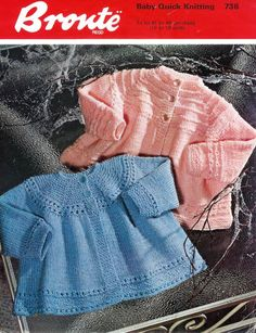 Vintage PDF Knitting Baby Patterns -  Qk 8ply  Matinee Jacket & dress    18-19ins