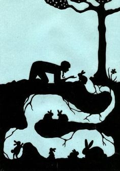 Watership Down ~ Paper Cutting Art, by. Art And Illustration, Illustrations, Paper Cutting, Silhouettes, Watership Down, Bunny Art, Bunny Room, Kirigami, Art Lessons