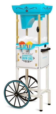 Nostalgia Electrics Snow Cone Machine and Cart. Cute and inexpensive snow cone cart. Upgrade from the smaller snow cone appliances made by Nostalgia Electrics. Specialty Appliances, Small Appliances, Kitchen Appliances, Kitchen Gadgets, Cooking Appliances, Cooking Gadgets, Snow Cone Machine, Nostalgia, Snow Cones