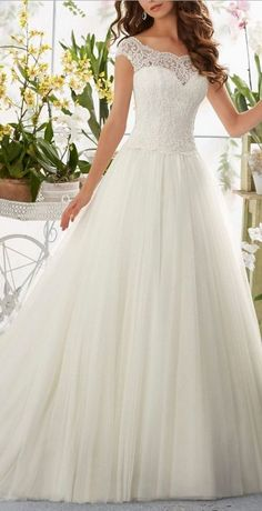 BE GORGEOUS by wearing this Simple Long A-Line Cap Sleeve Train Lace Wedding Dresses. Get a High Quality Dress for a Tiny Price! See Now at http://www.cutedresses.co/product/simple-long-a-line-cap-sleeve-train-lace-wedding-dresses/