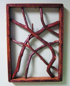 "Rustic Framed tree branches.  I could so make this... A grouping of these would be so cool on a wall.  From ""rusticworker"" on Etsy."