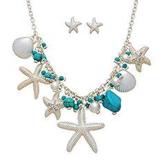 Amazon.com: Sea Life Necklace Set Starfish Turquoise Bead Decor By Surfside Jewelry: Jewelry