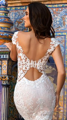 crystal design 2017 bridal cap sleeves bateau neckline full embellishment elegant lace sheath wedding dress low back chapel train (ostin) zbv -- Beautiful Wedding Dresses from the 2017 Crystal Design Collection Wedding Dress Low Back, Sexy Wedding Dresses, Gorgeous Wedding Dress, Princess Wedding Dresses, Bridal Dresses, Wedding Gowns, Lace Wedding, Crystal Wedding, Luxury Wedding