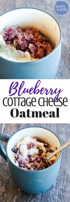 Double the size of your oatmeal bowl by adding protein rich creamy cottage cheese & sweet wild blueberries! A quick and healthy breakfast! via /hungryhobby/