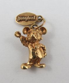 Mickey Mouse With Disneyland Tag 14K Gold Vintage by SilverHillz