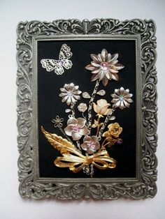 Framed Vintage Jewelry Art Floral - SPRING FLING