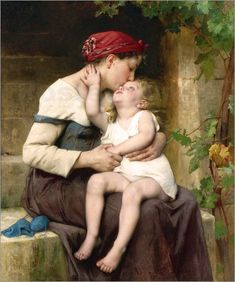The Kiss – William-Adolphe Bouguereau William Adolphe Bouguereau, Paintings I Love, Beautiful Paintings, Sibylla Merian, Munier, A4 Poster, John William Waterhouse, Fine Art, Mothers Love