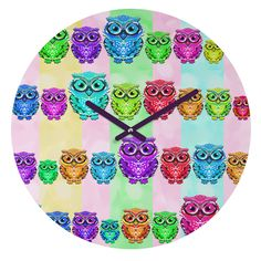 Lisa Argyropoulos Little Hoots Stripes Multicolor Round Clock | DENY Designs Home Accessories