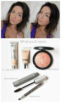 "The ""No Makeup"" Makeup Look. Perfect for on the go, workouts, light makeup gals, makeup beginners!"