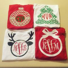 Monogram Christmas Shirt Long Sleeve Tee by MonogramMadnessKayla