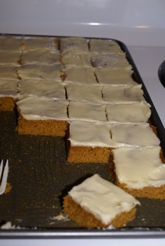 Pumpkin Bars with Cream Cheese Frosting-- These ones look more like the ones my Momma use to make