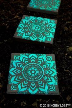 Stepping stones painted with glow in the dark paint.