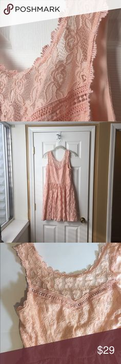 Blush Pink Lace Junior's Dress Gorgeous Blush Pink Lace and open String Back.  Size 11 Junior's.  Like New wore once.  Right above The knee depending how tall. City Triangles Dresses Formal