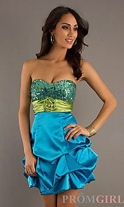 Blue green grad dress