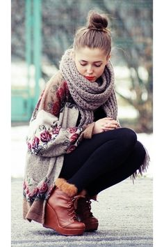 Chunky knit scarf and cardy