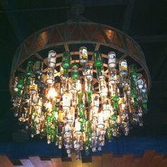 Light fixture made from beer bottles
