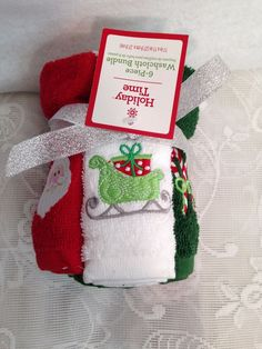 "Christmas Holiday Time Washcloth Bundle Of 6 11""x 11"" Santa Sleigh Candy Canes #HolidayTime"