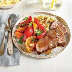 Pork Recipes Under 250 Calories | Pan-Roasted Pork Tenderloin and Peppers  | MyRecipes.com