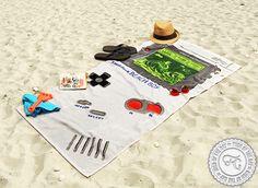 Super Mario Land - Tetris - Pac Man. Bring back the 90th to the Beach. Game Boy Beach Towel. #summer2013 #holiday