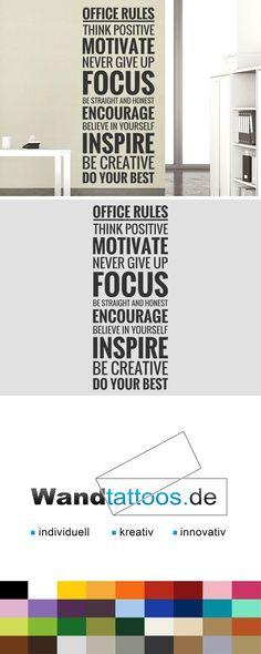 Wandtattoo Office Rules als Idee zur individuellen Wandgestaltung. Einfach Lieblingsfarbe und Größe auswählen. Weitere kreative Anregungen von Wandtattoos.de hier entdecken!