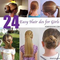 24 Easy Hair dos for girls #howdoesshe #hairstylesforgirls howdoesshe.com