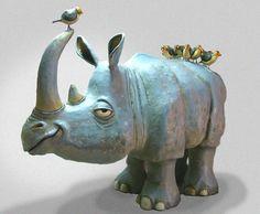 The Ultimate Paper Mache - Rhino and birds, humor!